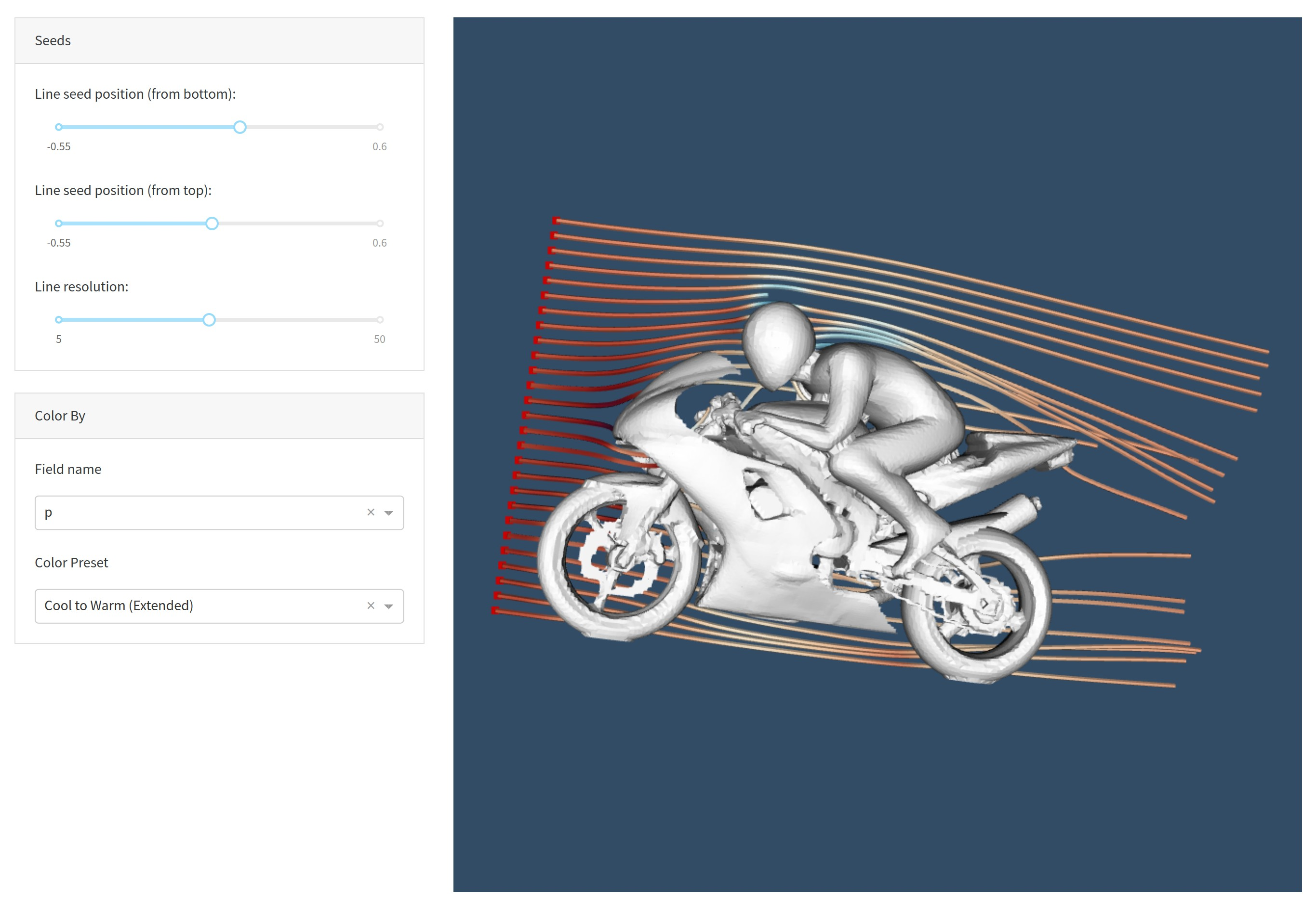 A demo of the usage-vtk-cfd app