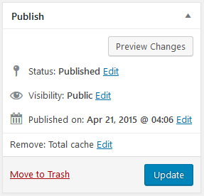Cachify Publish-Status