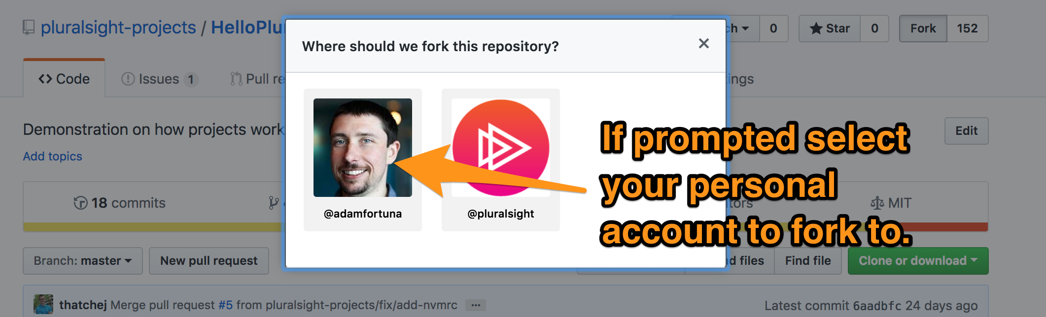 Fork to your account