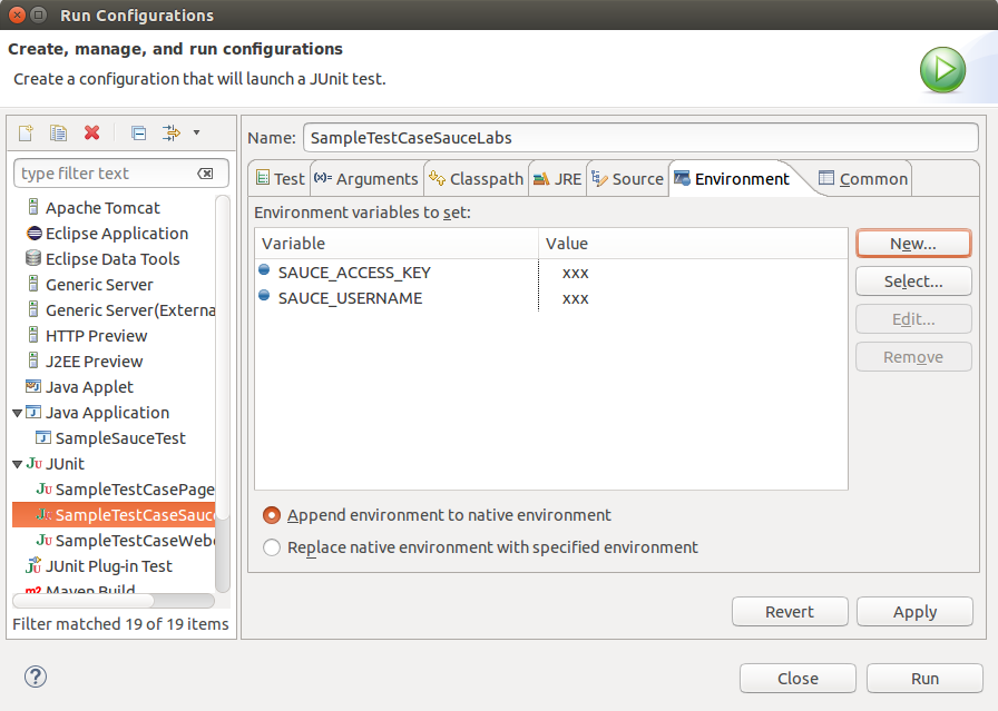 Configure Environment Variables in Eclipse
