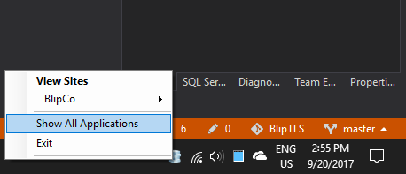 IIS Express Tray Icon Context Menu