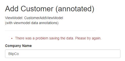 model error validation message