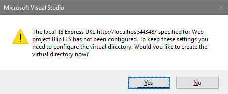Visual Studio Virtual Directory confirmation