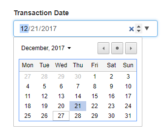 Date entry control
