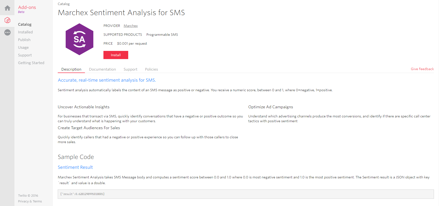 Marchex Sentiment Analysis add-on