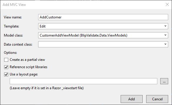 Add MVC View dialog box