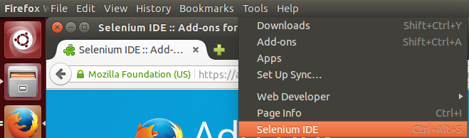 Selenium menu option