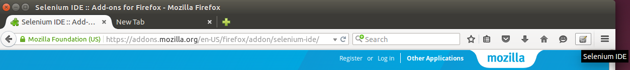 Selenium toolbar button