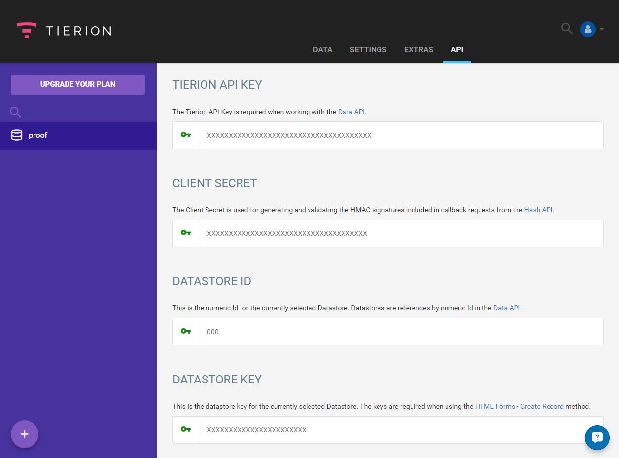 Tierion API keys