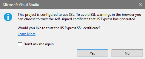 Visual Studio SSL configuration warning