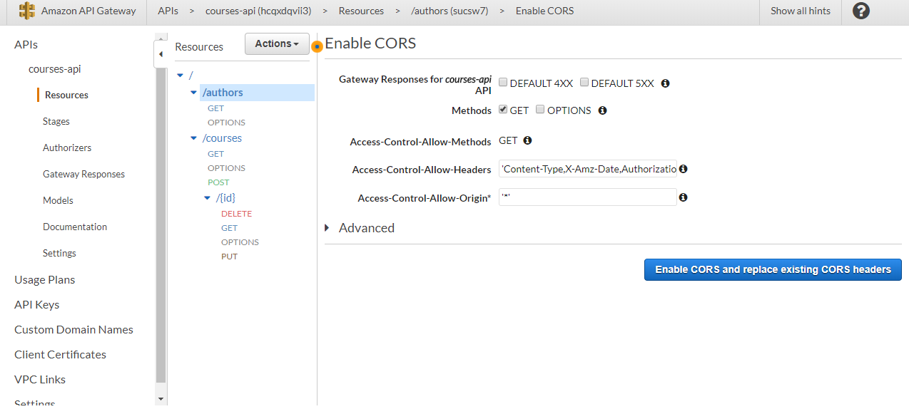 Enable CORS