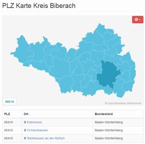 Interaktive PLZ Karte