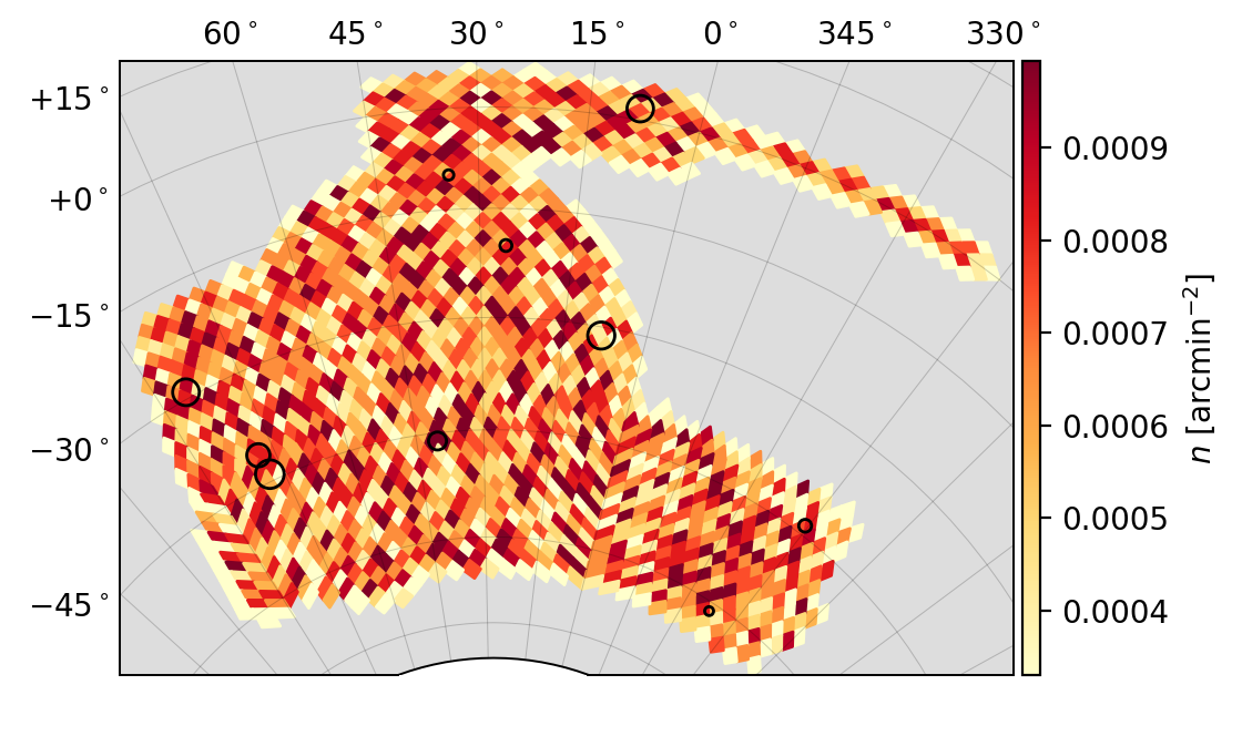 Random density in DES footprint