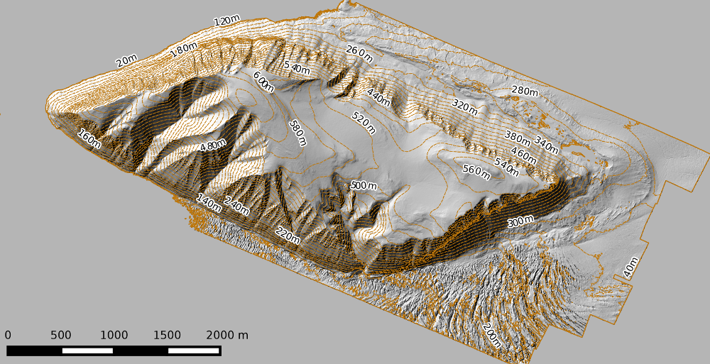 Hillshade image created from LiDAR data over Svalbard with contour lines overlain.