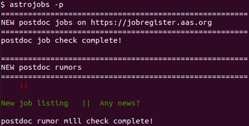 Get latest astronomy job and rumor news in your command line