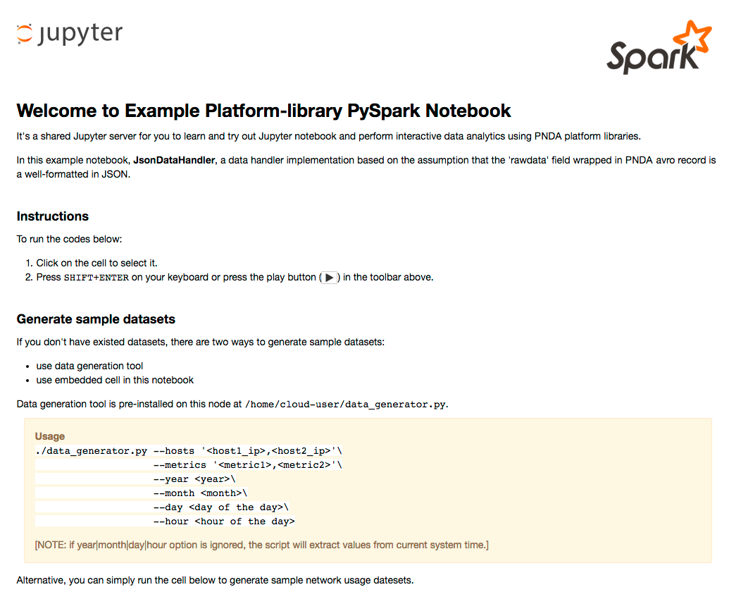 Jupyter example notebook