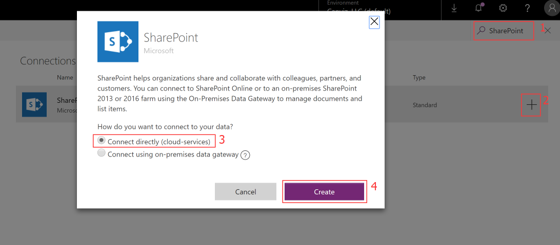 PowerApp create sharepoint connection