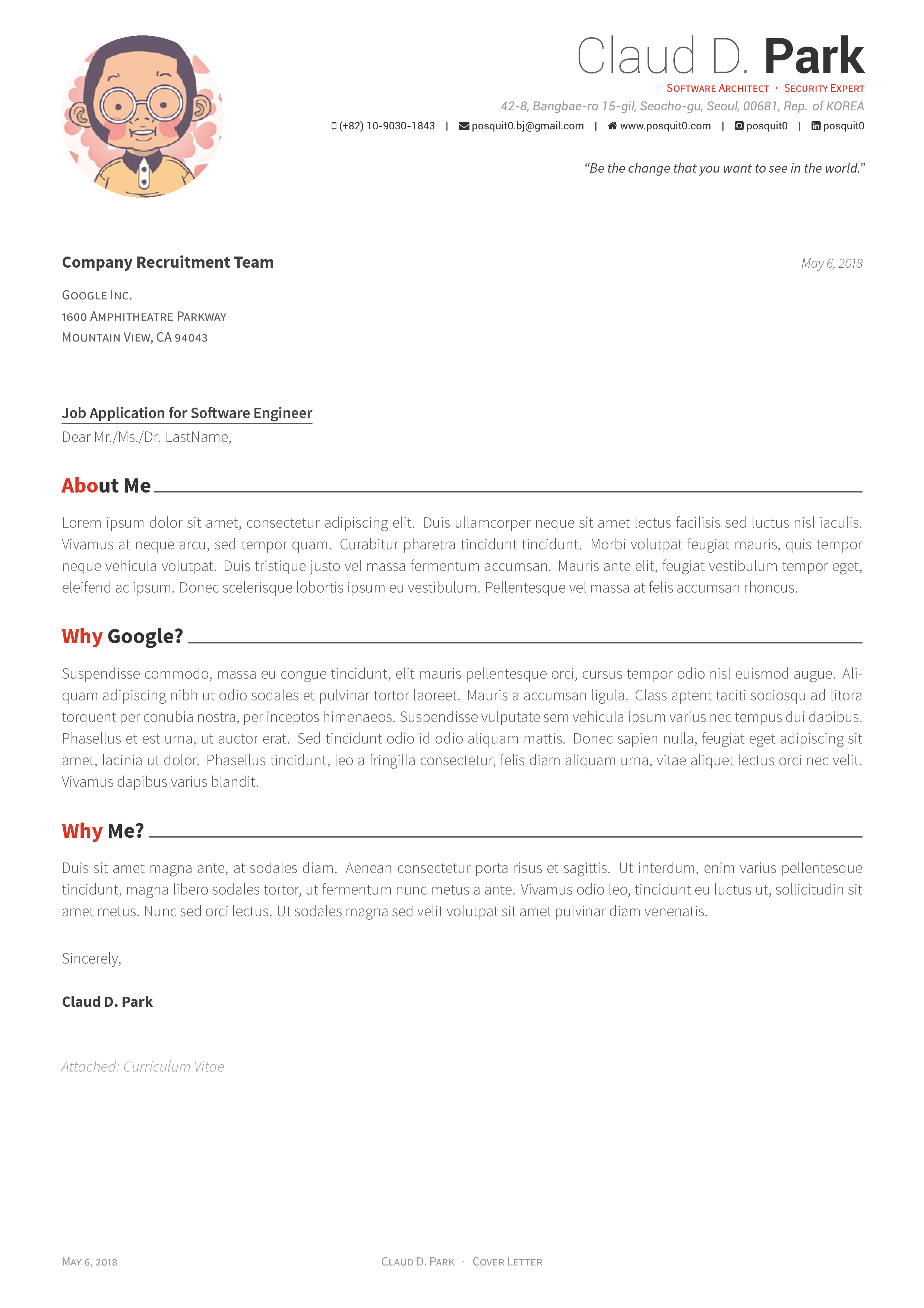 Github Posquit0 Awesome Cv Awesome Cv Is Latex Template For