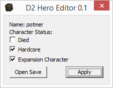 Diablo 2 Hero Editor Tool Allows Editing Characters To Set Unset Whether They Are Dead Hardcore And Or Expansion Can Be Used Revive