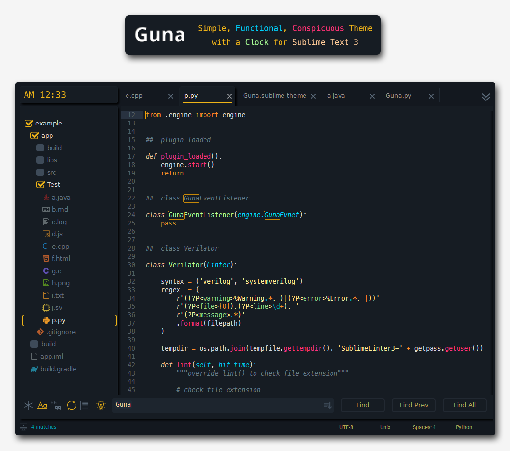 Guna - simple, functional, conspicuous theme with a clock - Plugin