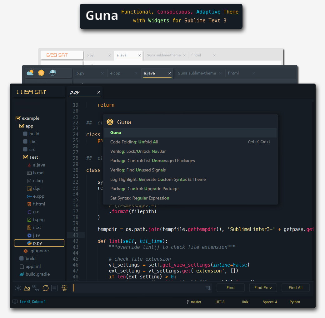 Guna - simple, functional, conspicuous theme with a clock