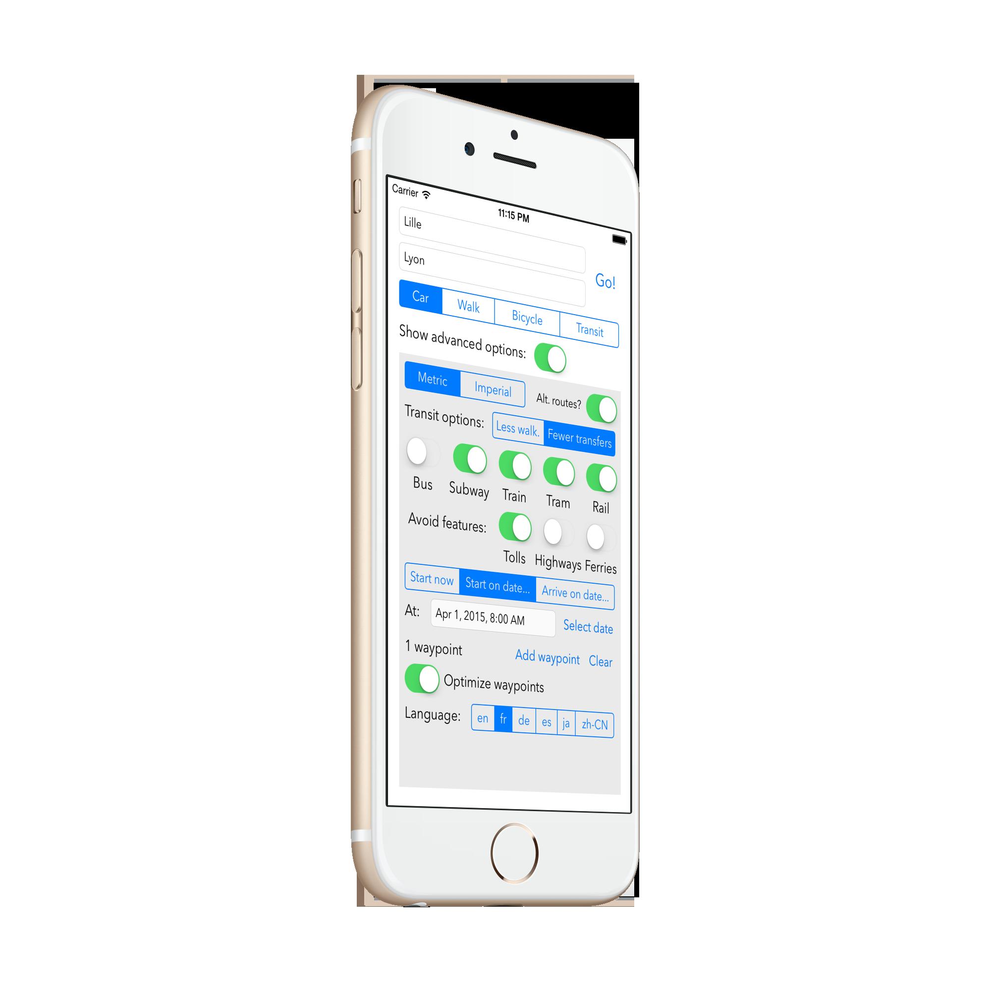 Sample app screenshot 1