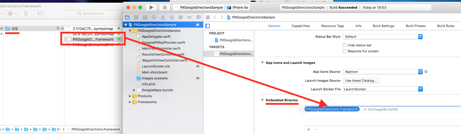 Dropping a Carthage-generated framework in Xcode