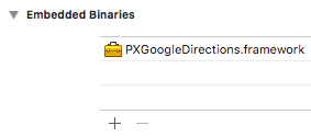 Adding the PXGoogleDirections framework as an embedded binary in Xcode