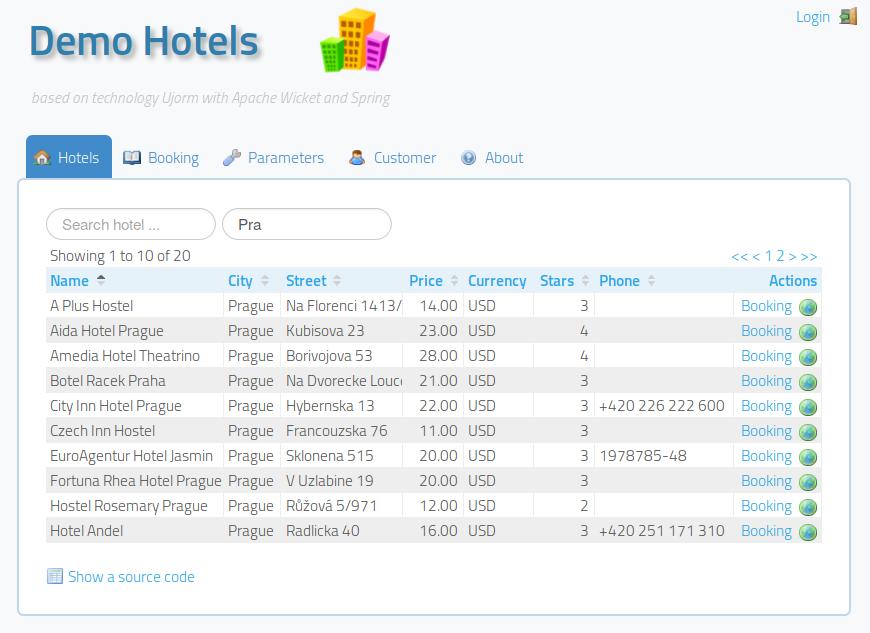 Demo Hotels screentshot