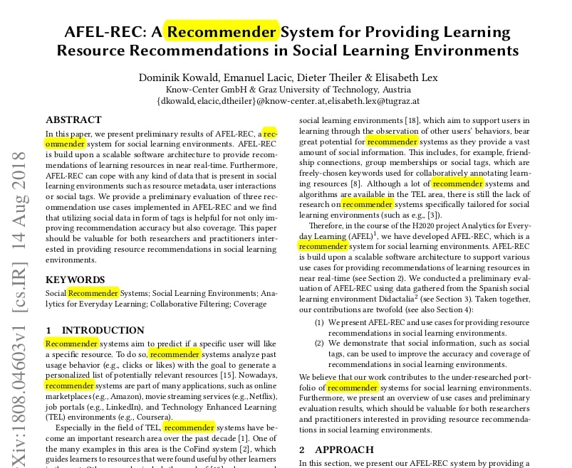 Highlighting a word Recommender on the PDF page.