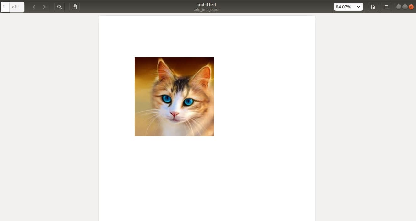 Adding a simple image of a cat on a PDF page.