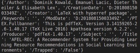 The metadata information is extracted.