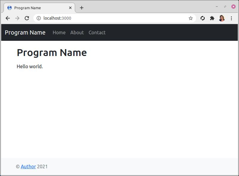 Node.js Bootstrap starter template screenshot.