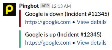 Pingdom Down Alert Example