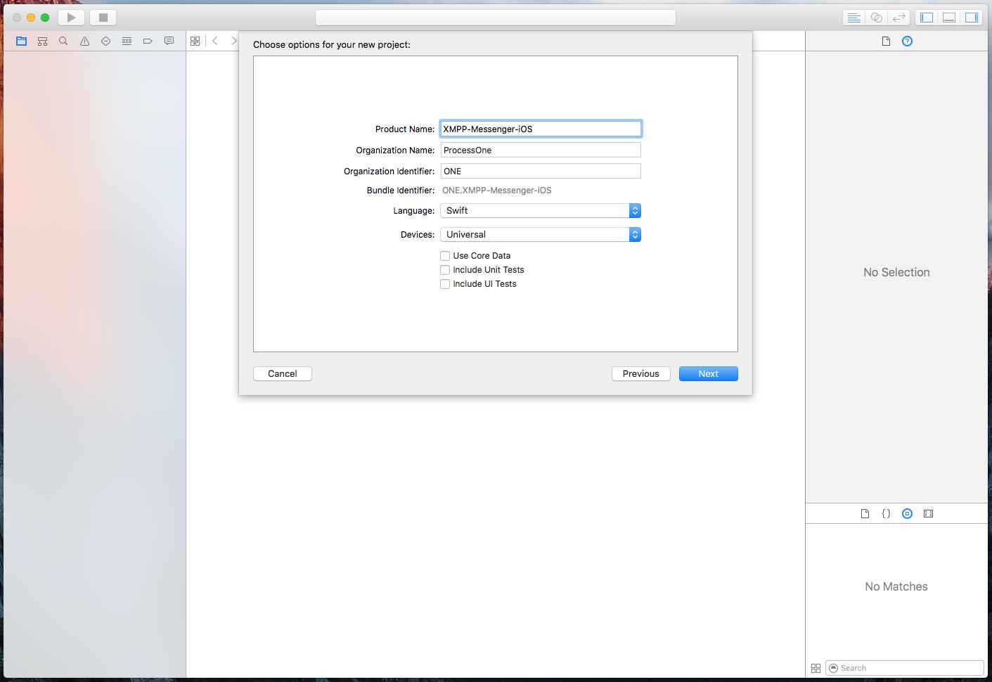 Xcode setup screenshot
