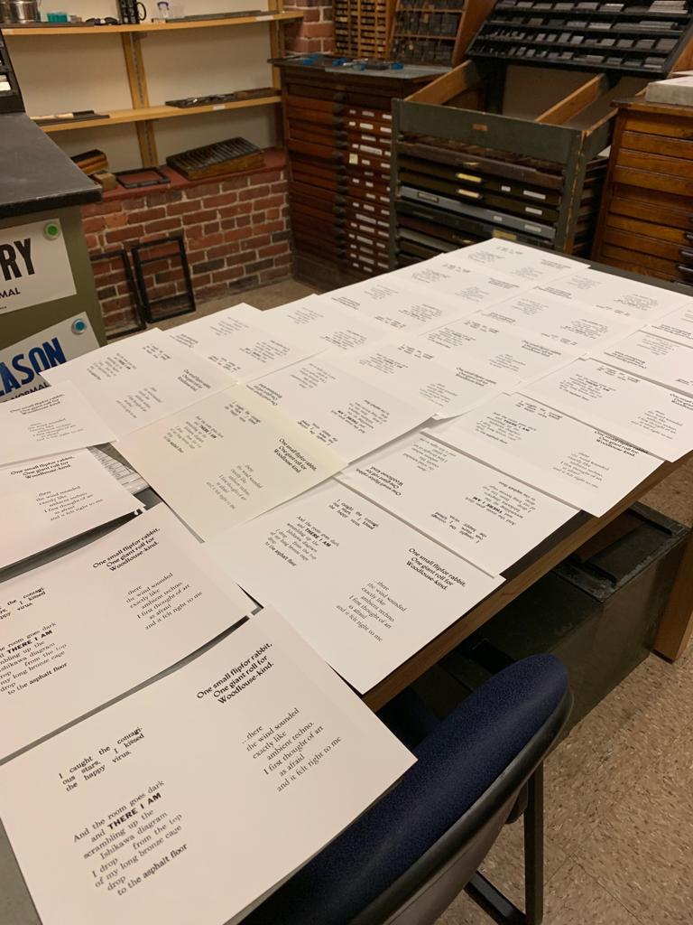 a photograph of the printed sheets, ready to take the form of books in our following lab