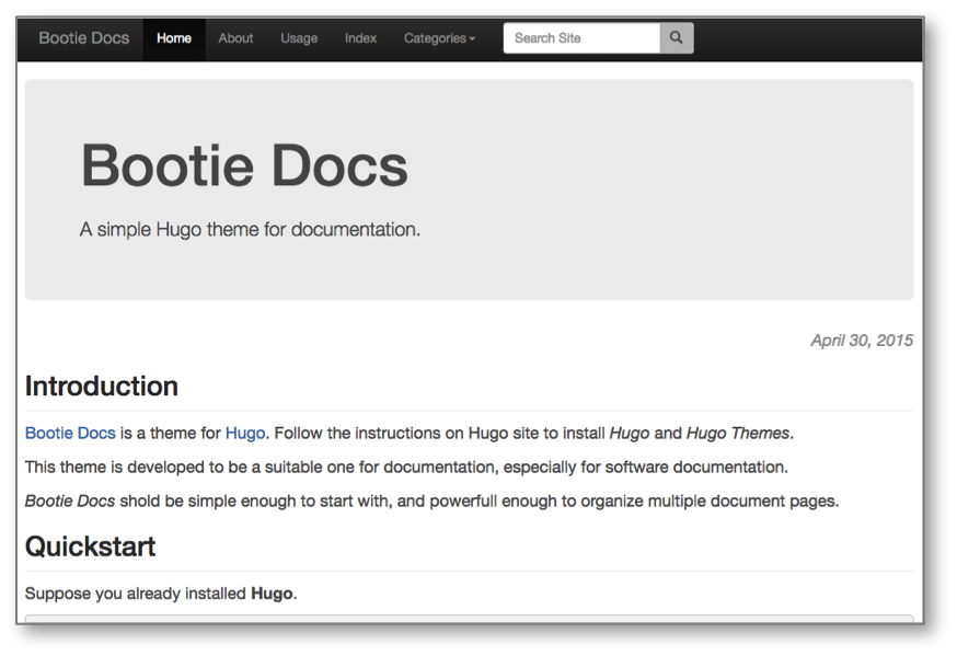 Bootie Docs screenshot