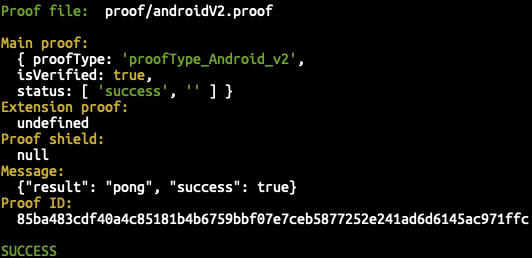 The passing Android V2 Proof!