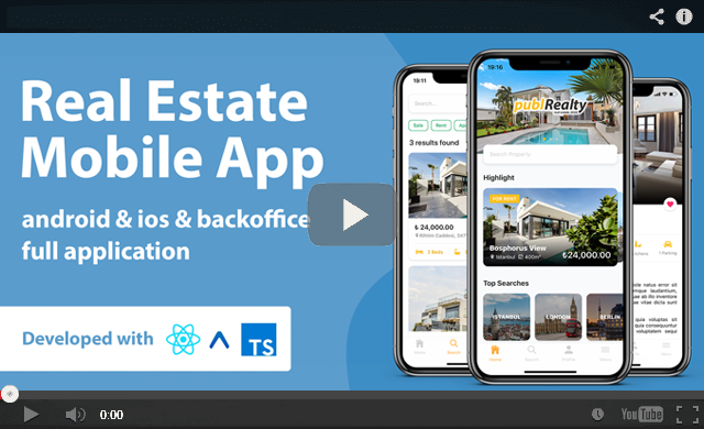 Real Estate Mobile App with Admin Panel | React Native & PHP Laravel or .NET Core 3.1 - 3