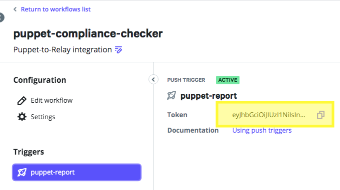 Copying access token from the workflow page