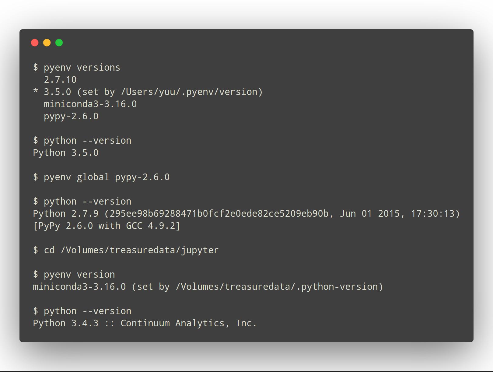 Terminal output example