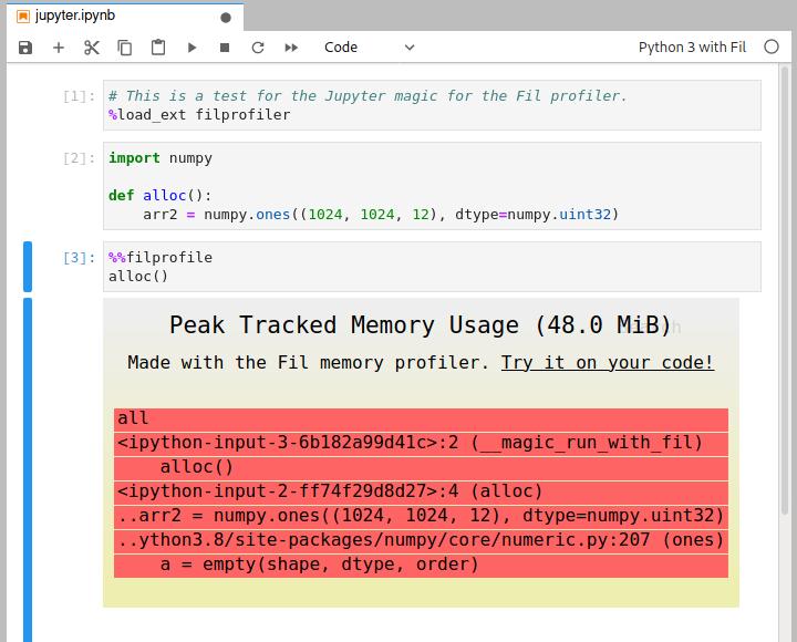Screenshot of JupyterLab