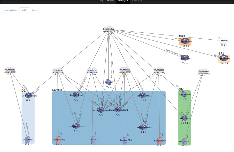 Sample UI - network design (VLAN)