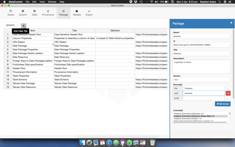 Add tab user interface