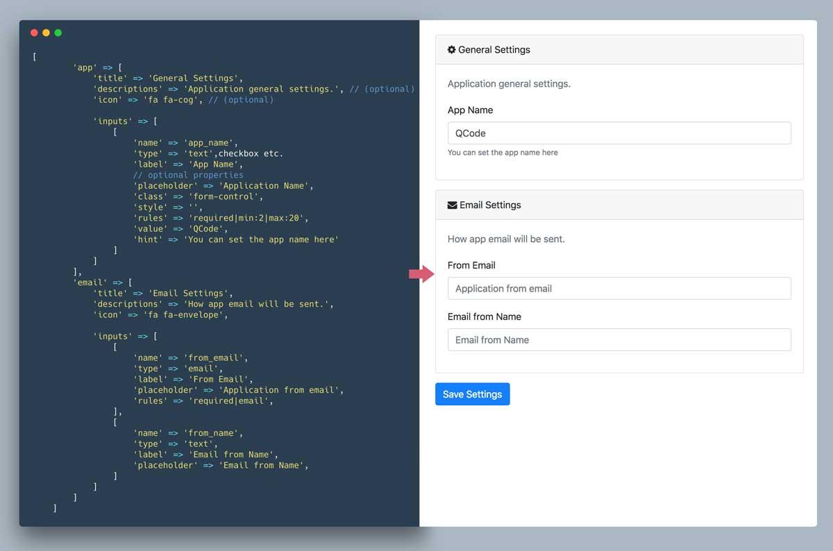 Laravel App Settings UI