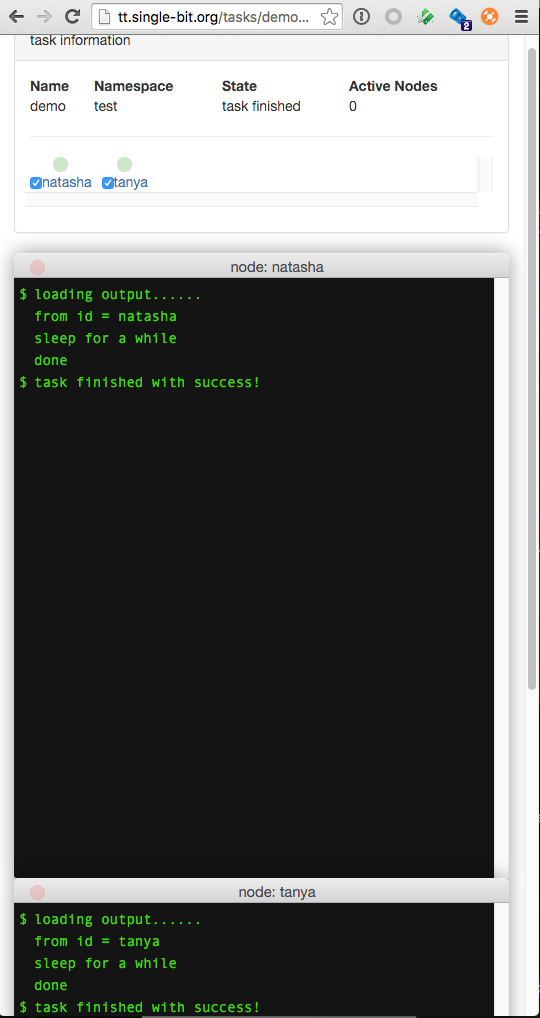 live demo output page