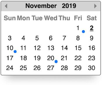 Events on calendar screenshot