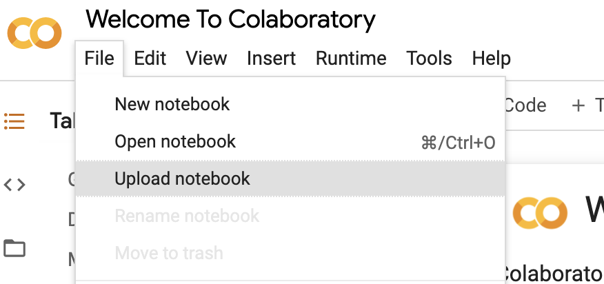 Google Colab's upload notebook entry in File menu.