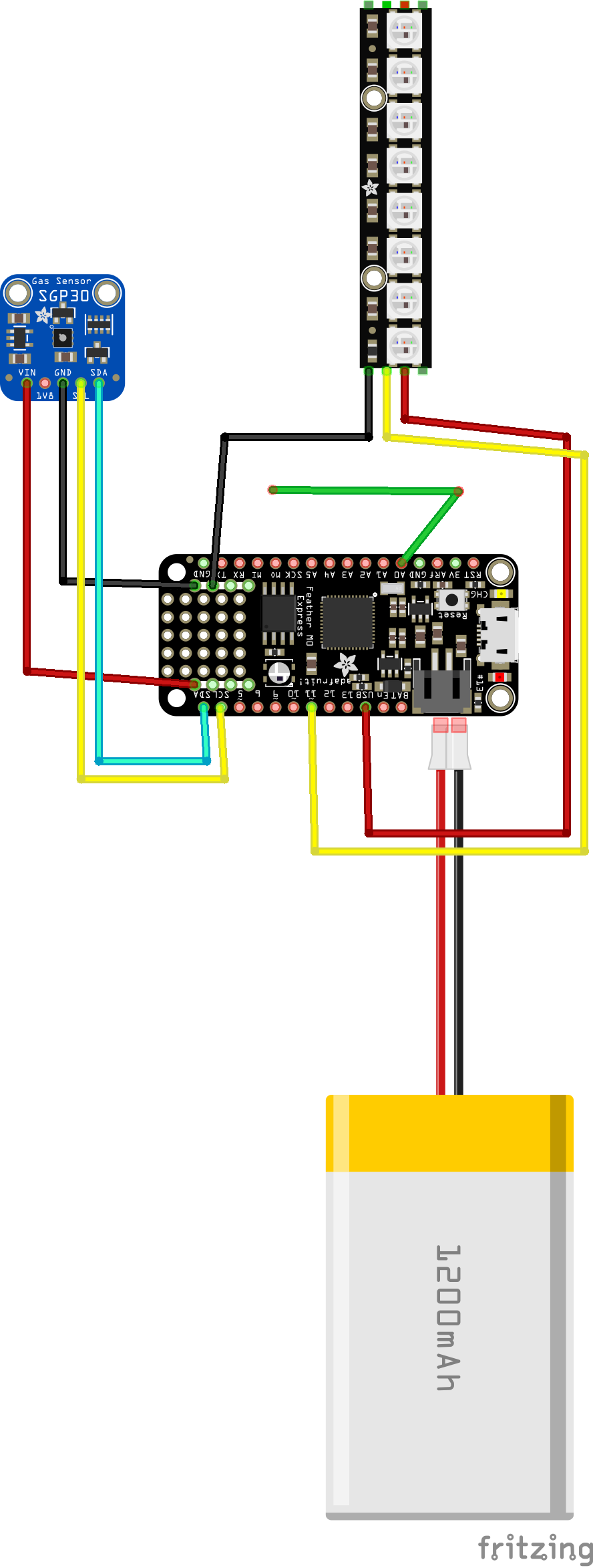 Circuit diagram for the aqo, showing how to connect the Feather M0, SPG30, NeoPixel Bar, and battery together