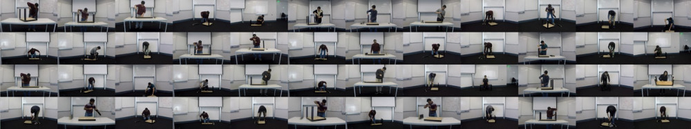 A grid of frames from videos of people screwing legs into Ikea tables